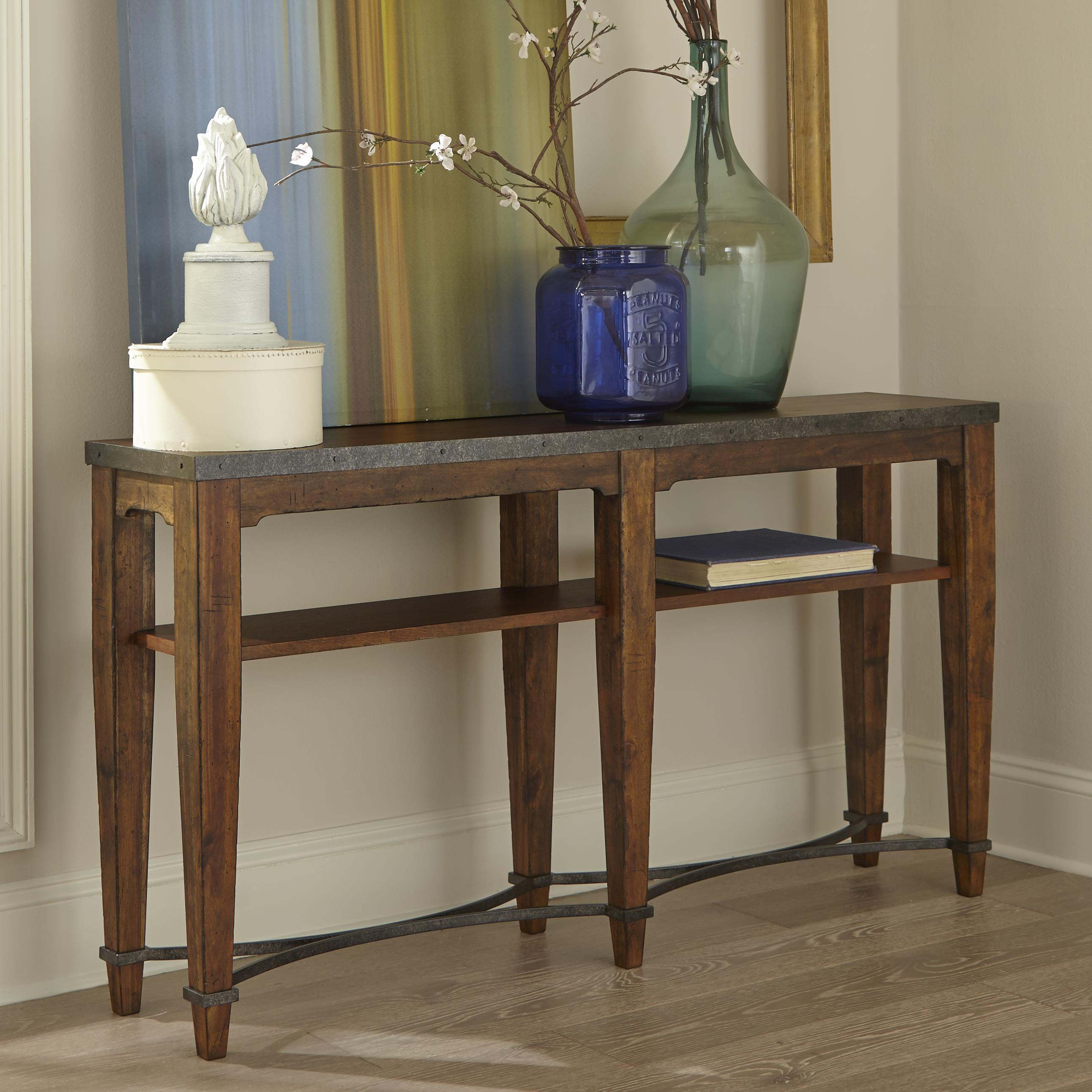 Ginkgo Sofa Table With Shelf And Metal Accents