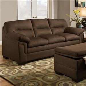 Casual Stationary Sofa with Plush Pillow Top Arms