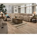 United Furniture Industries 50580BR Casual 5 Seat Power Reclining Sectional - Image shown may not represent reclining option indicated