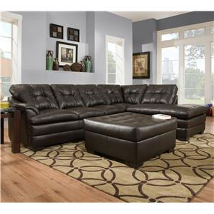 Transitional Sectional Sofa with Tufted Back