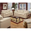Simmons Upholstery 6569 Upholstered Loveseat with Tufted Back - Shown with Coordinating Collection Sofa. Chair and a Half and Storage Ottoman Shown in Lower Left and Right Corners.