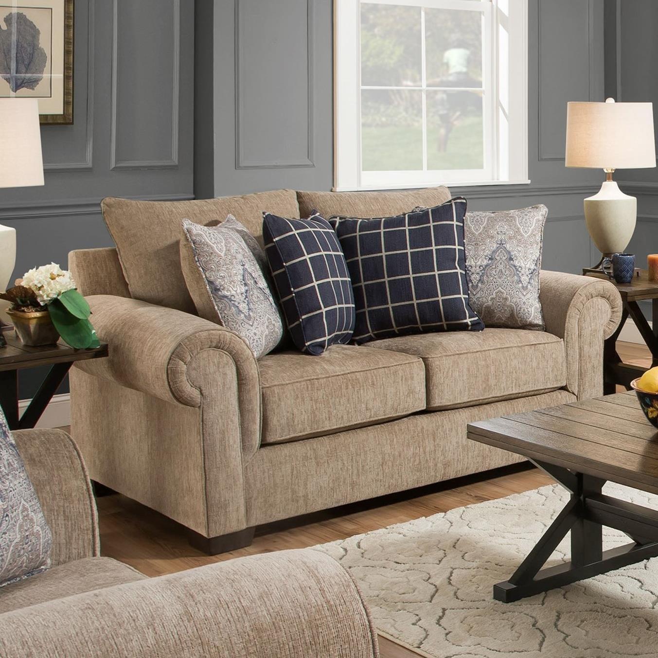 United Furniture Industries 6485 Transitional Loveseat: Transitional Loveseat With Rolled Arms By United Furniture
