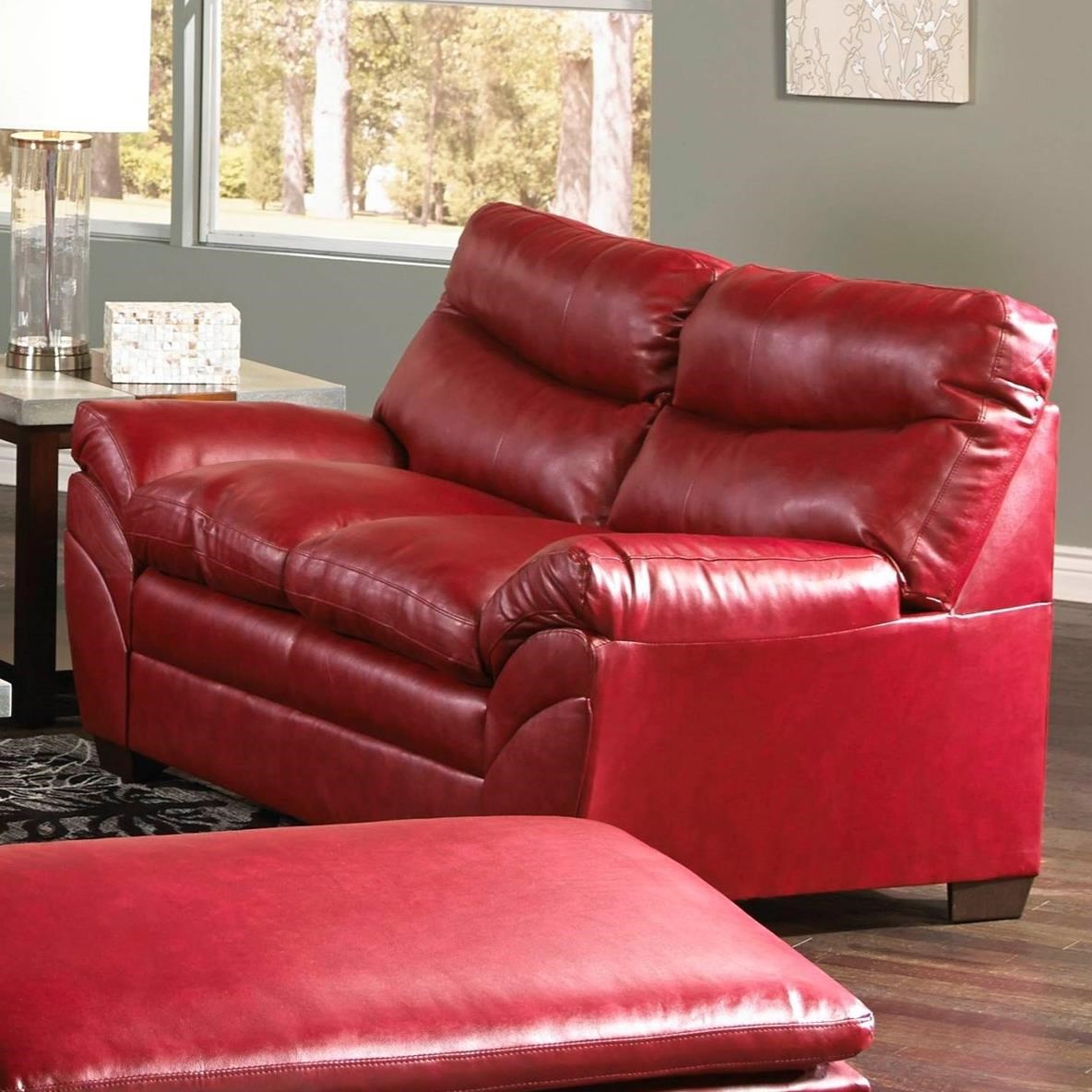 Casual Contemporary Loveseat with Angled Pillow Arms
