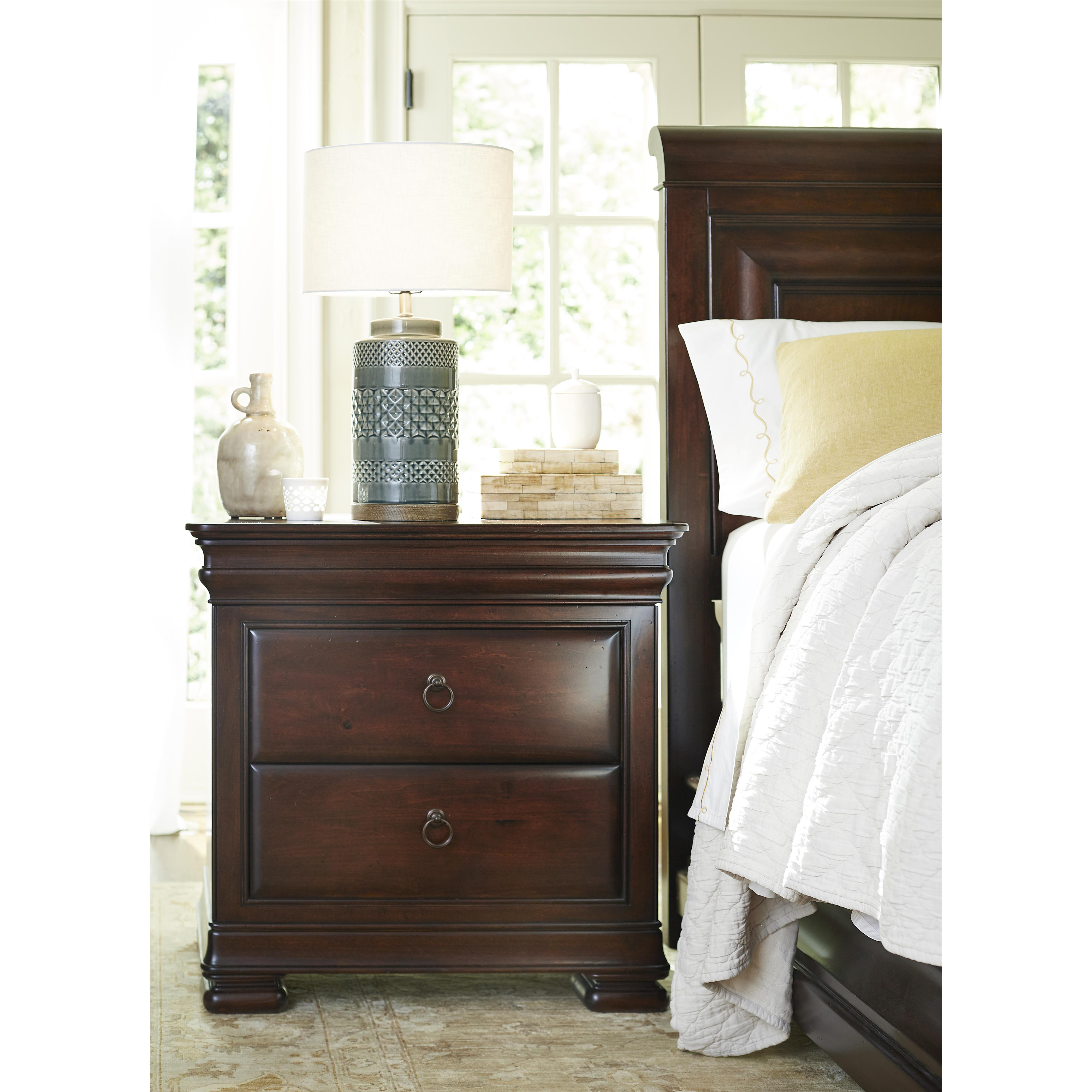 Nightstand with Outlet and Hidden Top Rail Drawer by Universal