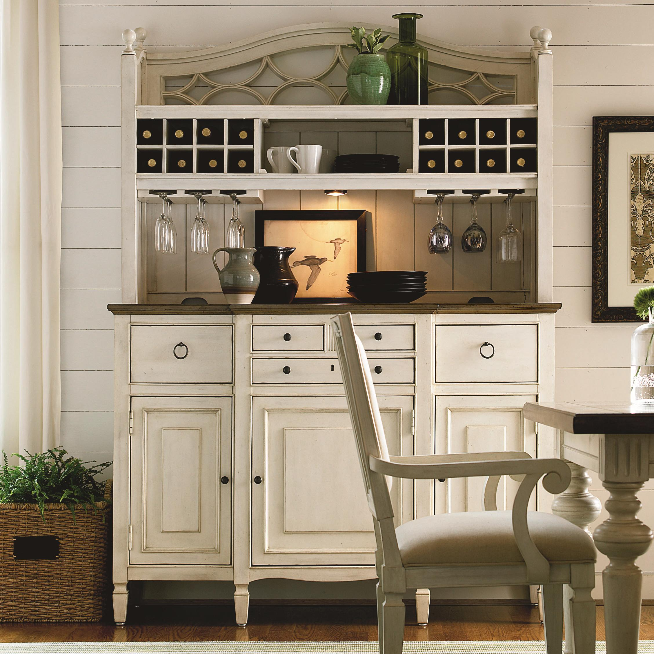 2 pc serving buffet and bar hutch with wine storage by universal