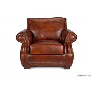 Awesome Traditional Top Grain Leather Chair With Nailhead Trim