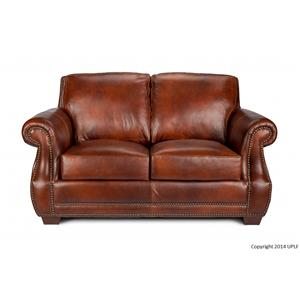 Traditional 100% Leather Loveseat With Nailhead Trim