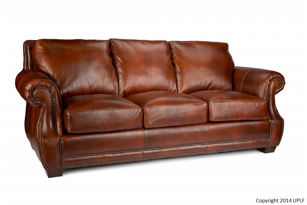 traditional top grain leather sofa with nailhead trim by usa premium leather wolf and gardiner