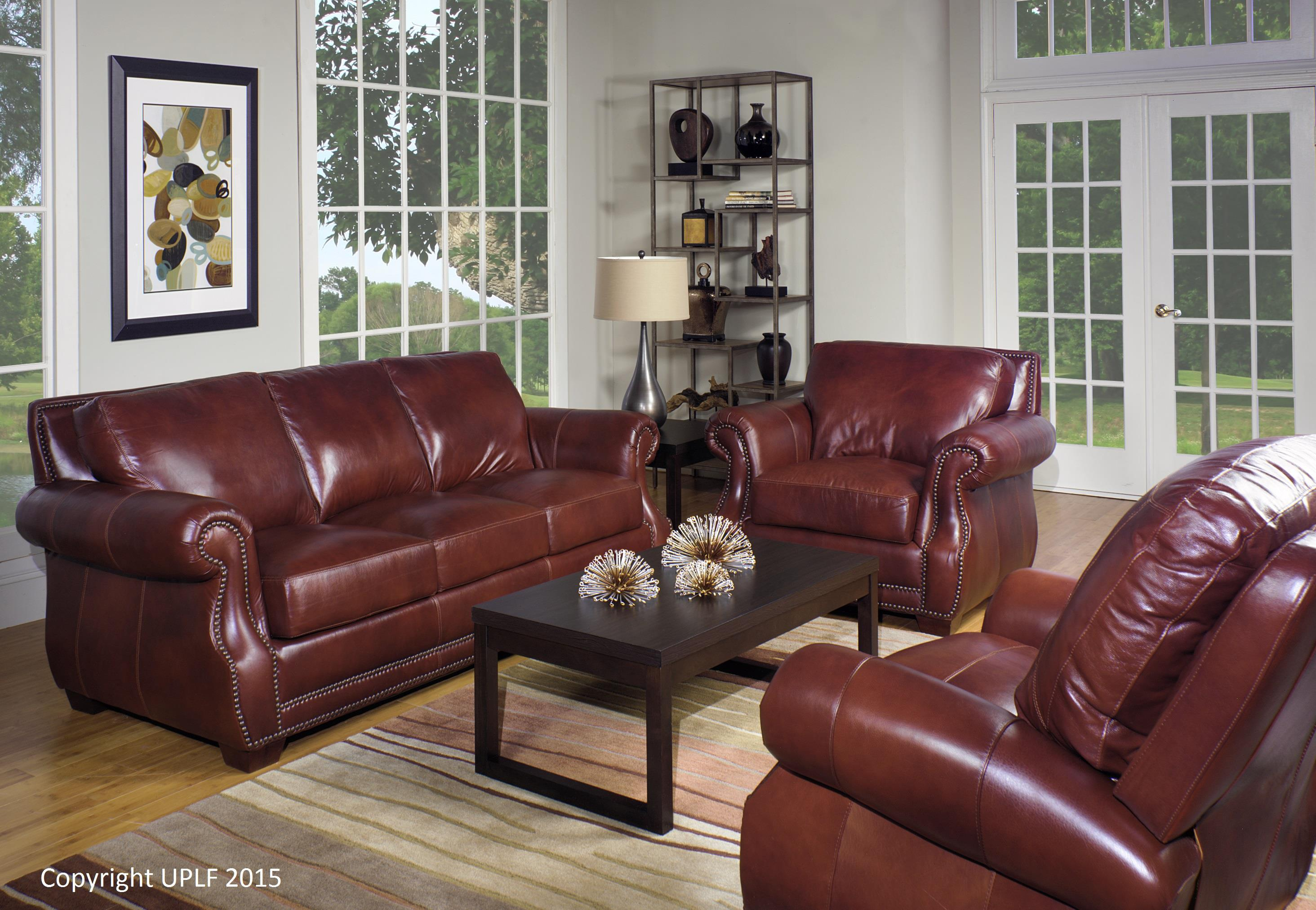 Traditional Top Grain Leather Sofa with Nailhead Trim by USA ...