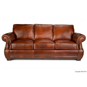 Traditional Top Grain Leather Sofa with Nailhead Trim