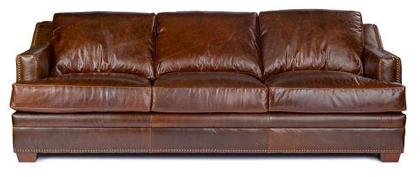By USA Premium Leather. Track Arm Sofa W/ Nailhead Trim
