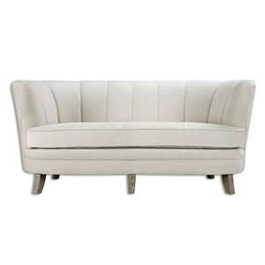 Uttermost Accent Furniture Teraj White Velvet Sofa