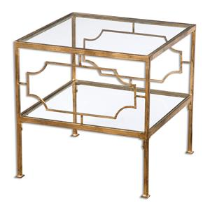 Uttermost Accent Furniture Genell Gold Cube Table