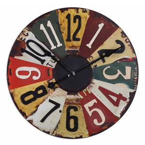 Uttermost Clocks Vintage License Plates Clock