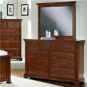 Vaughan Bassett Forsyth 7 Drawer Dresser and Mirror