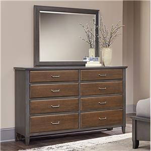 Vaughan Bassett Commentary Two-Tone Dresser & Large Landscape Mirror