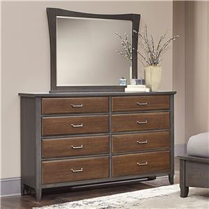 Vaughan Bassett Commentary Two-Tone Triple Dresser & Large Wing Mirror