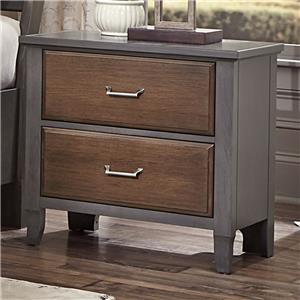 Vaughan Bassett Commentary Night Stand - 2 Drawers w/ charging station