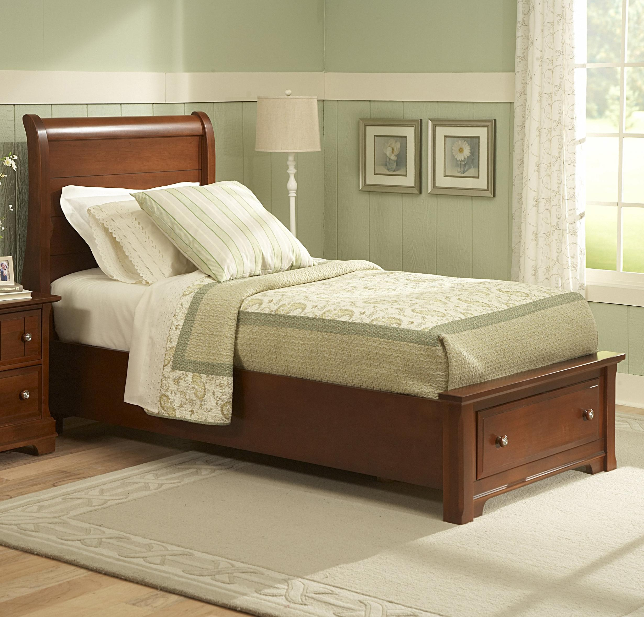 twin sleigh storage bed with 1 drawer by vaughan bassett wolf and gardiner wolf furniture. Black Bedroom Furniture Sets. Home Design Ideas