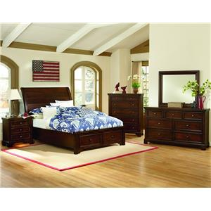 Vaughan Bassett Hanover Queen Storage Bed, Dresser, Mirror & 2 Night