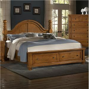 Vaughan Bassett Reflections Queen Storage Bed with Poster Headboard
