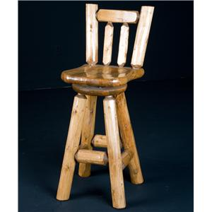 NorthShore by Becker Log Furniture 30' Swivel Barstool Wood Seat
