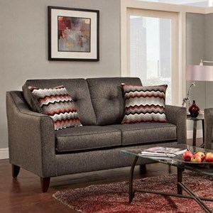 Contemporary Love Seat with Curved Track Arms