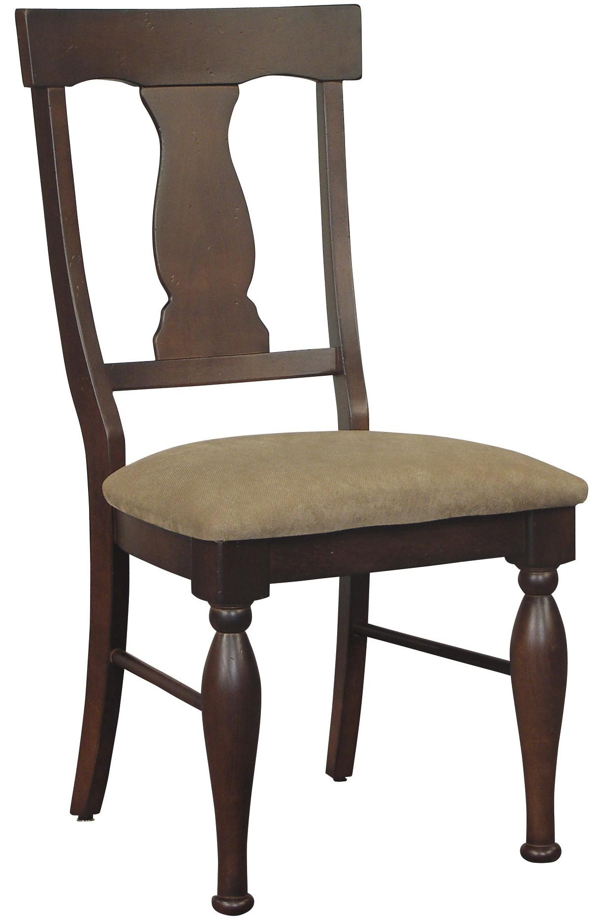Dining Side Chair with Upholstered Seat, Splat Back and Turned Legs