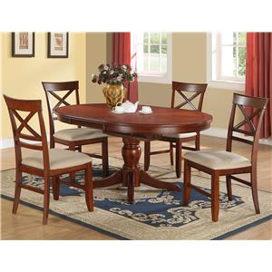 Winners Only Topaz 5-Piece Pedestal Table & Side Chair Set