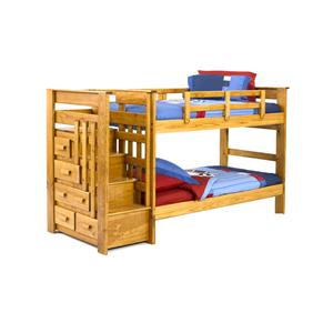 Woodcrest Heartland BR Twin/Full Stairway Bunk