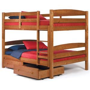 Woodcrest Pine Ridge Square PostFull/Full Bunk Bed