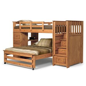 Woodcrest Woody Creek Twin/Full Stairway Bunk with 4-Drawer Tower