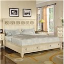 Flexsteel Wynwood Collection Garden Walk Queen Panel Headboard Bed with Storage Footboard - Bed Shown May Not Represent Size Indicated