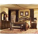Flexsteel Wynwood Collection Granada  California King Mansion Bed with Wrought Iron Accents - With Coordinating Dresser and Mirror Combination, Bench and Marble Top Night Stand