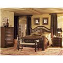 Flexsteel Wynwood Collection Granada  California King Mansion Bed with Wrought Iron Accents - With Coordinating Chest of Drawers, Bench and Marble Top Night Stand