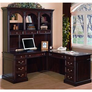 "Flexsteel Wynwood Collection Wellington ""L"" Desk With Hutch"