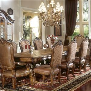 Michael Amini Tuscano Leg Dining Table w/ 3 Leaves