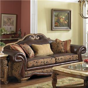 Michael Amini Tuscano Leather/Fabric High Back Sofa