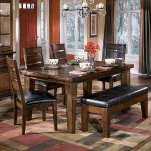 Signature Design by Ashley Larchmont Dining Table, 4 Chairs, and 1 Bench
