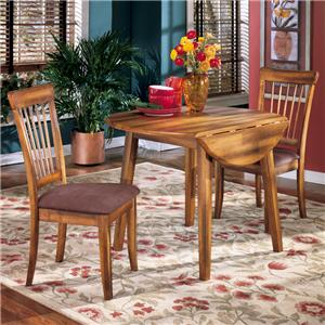Signature Design by Ashley Furniture Berringer 3-Piece Drop Leaf Table & Side Chair Set