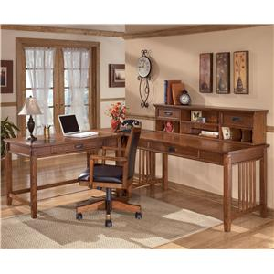 Ashley Furniture Cross Island L-Shape Desk with Low Hutch