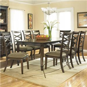 Signature Design by Ashley Furniture Hayley Contemporary Rectangular Table with 8 Chairs