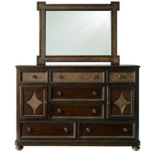 Bassett Moultrie Park Door Dresser and Woven Mirror
