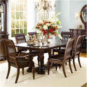 Bernhardt Belmont Double Pedestal Table and 6 Dining Chairs