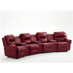 Best Home Furnishings Bodie 4-Seater Power Reclining Home Theater Group