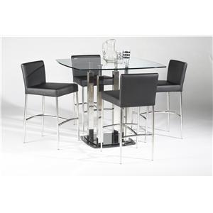 Chintaly Imports Cilla 5 Piece Square Pub Table and Chair Set