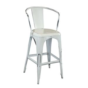 Coast to Coast Imports Jadu Accents White Metal Barstool
