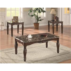 Coaster 3 Piece Occasional Table Sets 3-Piece Traditional Faux Marble Table Set