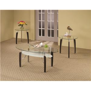 Coaster 3 Piece Occasional Table Sets 3-Piece Glass Top Occasional Set