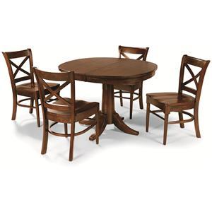 Cochrane Downtown: Solid Mahogany 5-Piece Pedestal Table Set